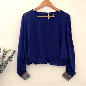 Double Zero cobalt blue blouse slit sleeves XS